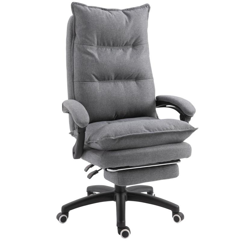 Kantoorstoel massage draaistoel massagefunctie directiestoel in hoogte verstelbaar grijs