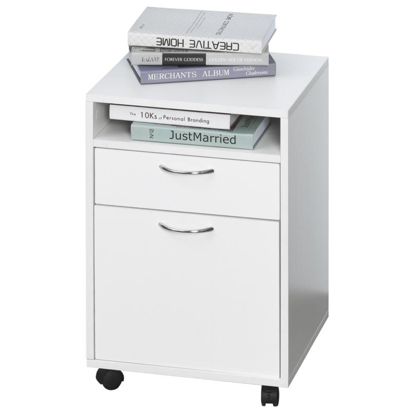 Rolcontainer archiefkast kantoorcontainer met schuiflade kantoorkast wit
