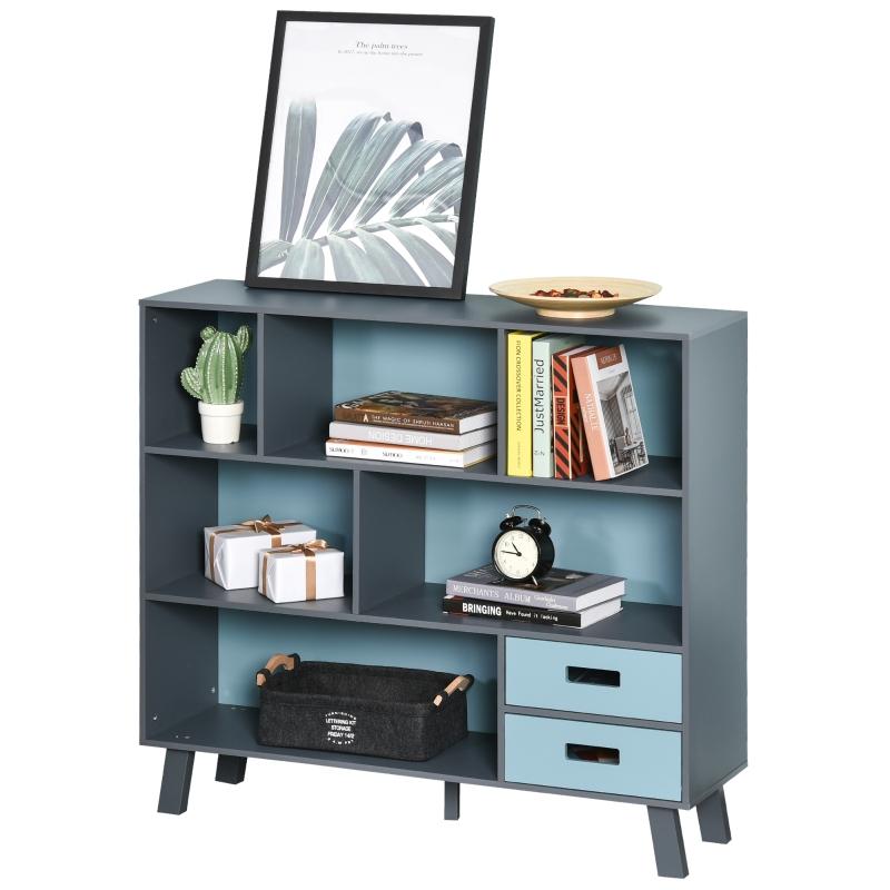 Boekenplank vrijstaande stelling opbergplank boekenkast met 2 schuiflades MDF blauw