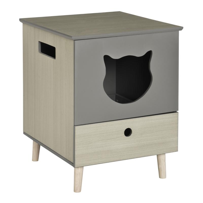 kattentoilet kattenbak kattenhuis kattenkast met lade MDF Grijs