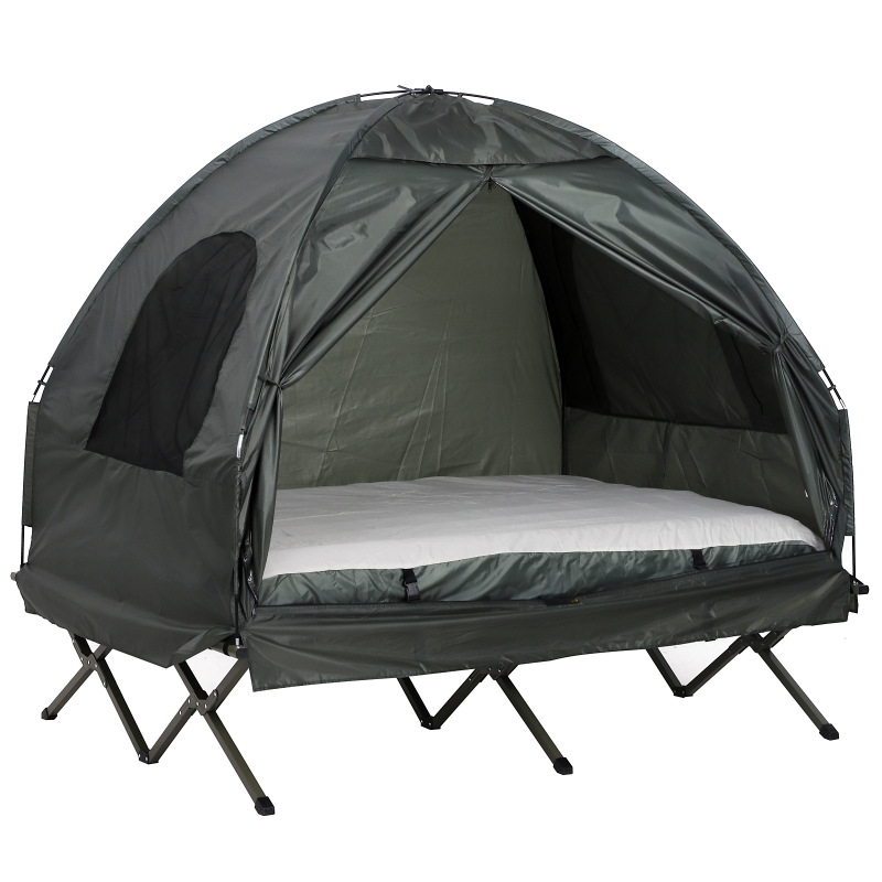 Campingtent verhoogd campingbed koepeltent luchtmatras met pomp taft groen