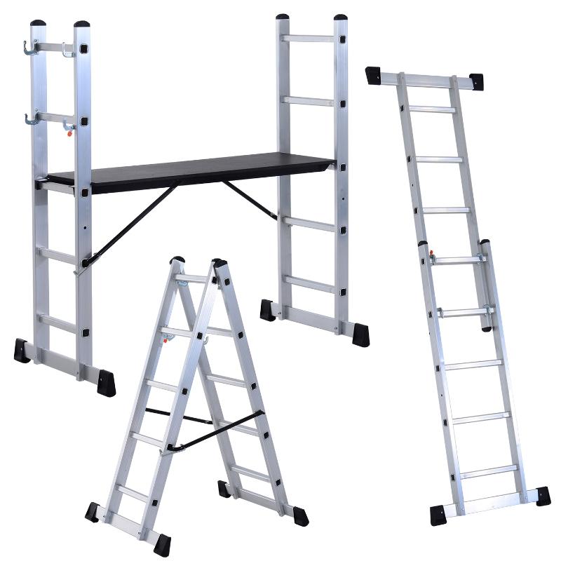 Aluminium multi-steiger trapladder laddersteiger vouwtrap dubbele ladder multifunctionele ladder 5 treden zilver