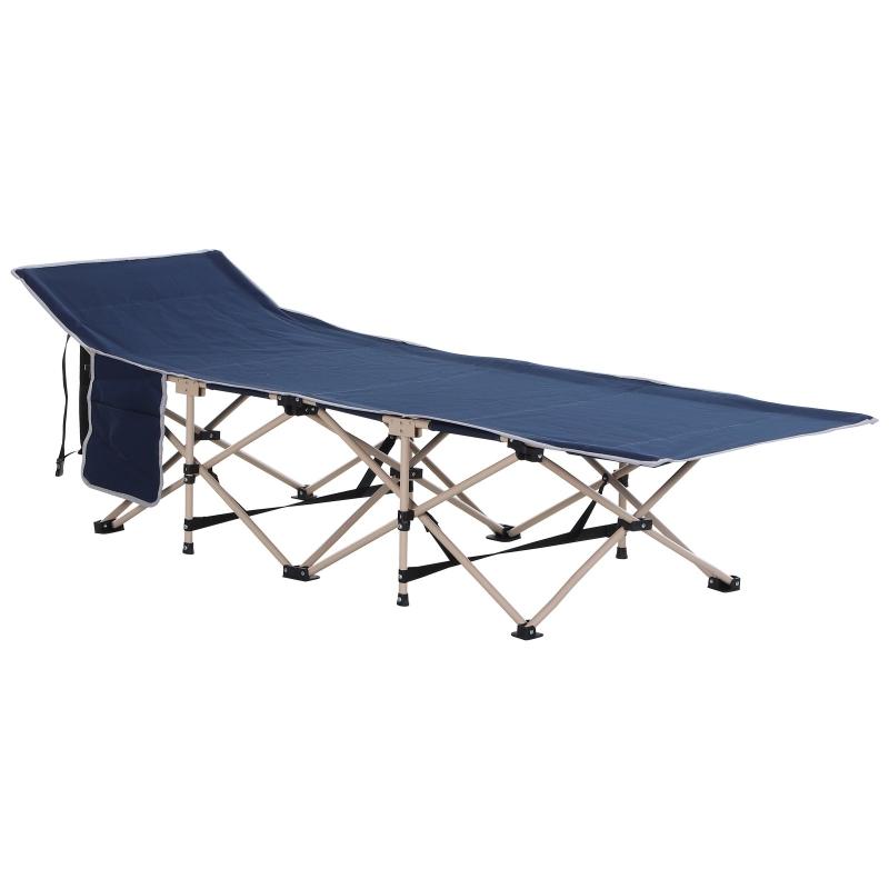 Veldbed campingbed camping ligbed verhoogd opvouwbaar draagtas staal Oxford blauw