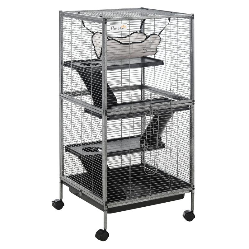 kooi voor kleine huisdieren knaagdierenkooi dierenkooi met 3 verdiepingen met hangmat op wielen metaal
