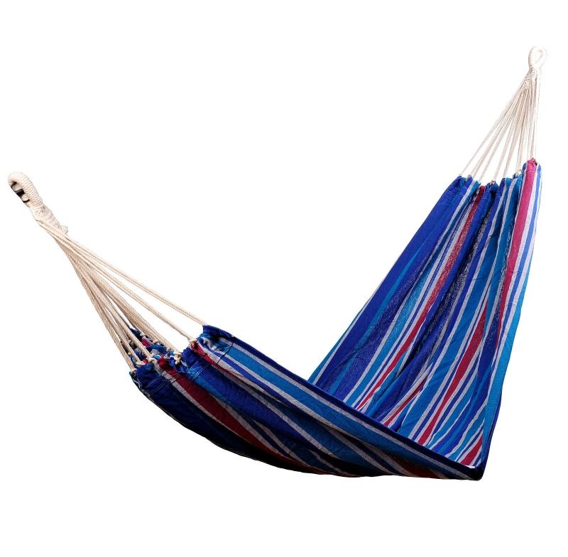 Hangmat hangende ligmat meerdere personen familiehangmat blauw-rood 210 x 150 cm