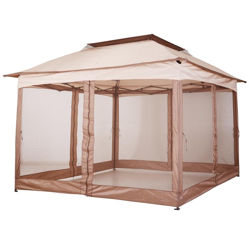 Paviljoen met zijwanden partytent tuintent popup 3,25 x 3,25 m khaki