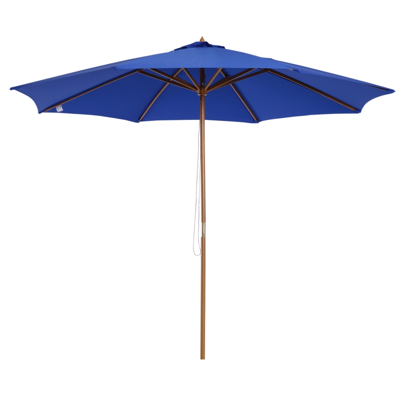 Houten parasol 300 x 250 cm marktparasol tuinparasol ronde parasol blauw
