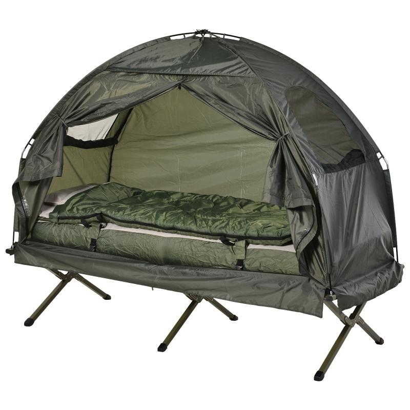 Campingbed 4 in 1 campingset incl. tent slaapzak matras opvouwbaar donkergroen
