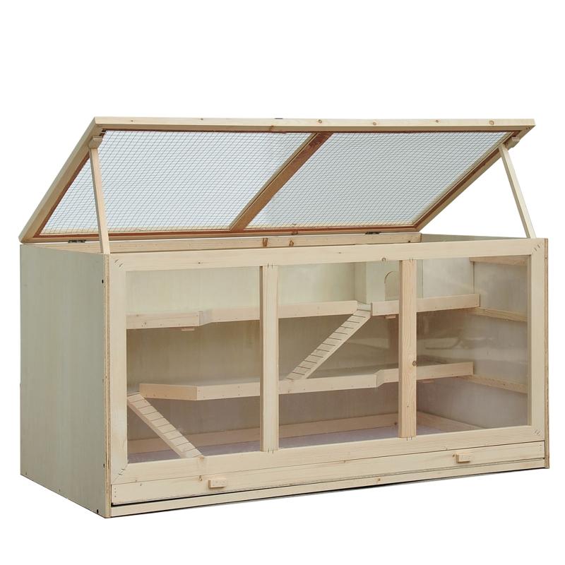 hamsterkooi, knaagdierenkooi, muizenkooi met trappetjes, drie verdiepingen massief hout PVC naturel