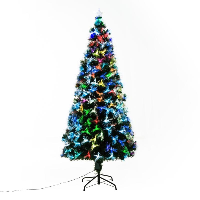 Kerstboom 1,8 m kerstboom 230 takken metalen voet meerkleurige lichteffecten