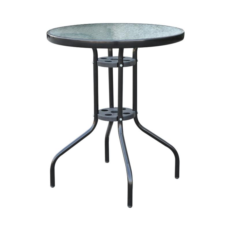 Balkontafel tuintafel glazen tafel bistrotafel metaal veiligheidsglas ∅60x70 cm