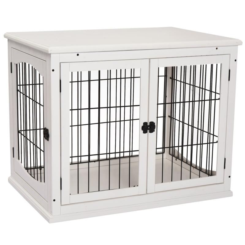 Hondenkooi voor in huis hondenbench voor binnen hondenhok huisdier 2 deuren wit