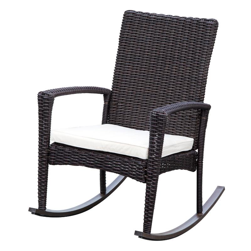 Poly-rotan schommelstoel schommelstoel schommel tuinstoel met zitkussen bruin