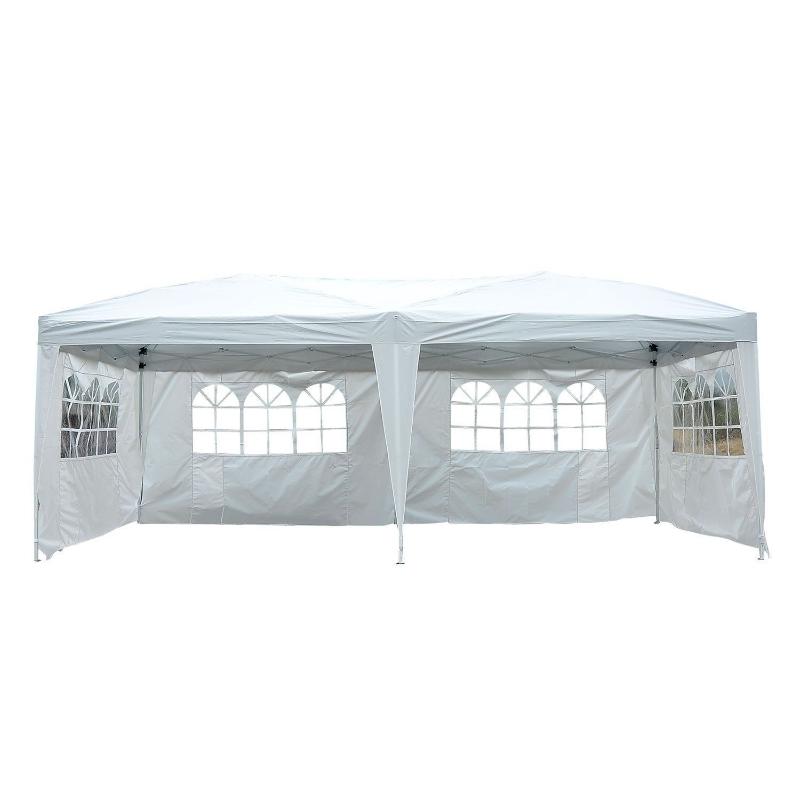Opvouwbaar paviljoen paviljoen opvouwbare tent partytent tuintent 3 x 6 m met venster 2 kleuren