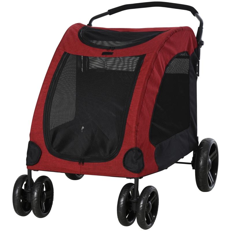Hondenbuggy hondentrolley hondenkar hondentas opvouwbaar rood + zwart