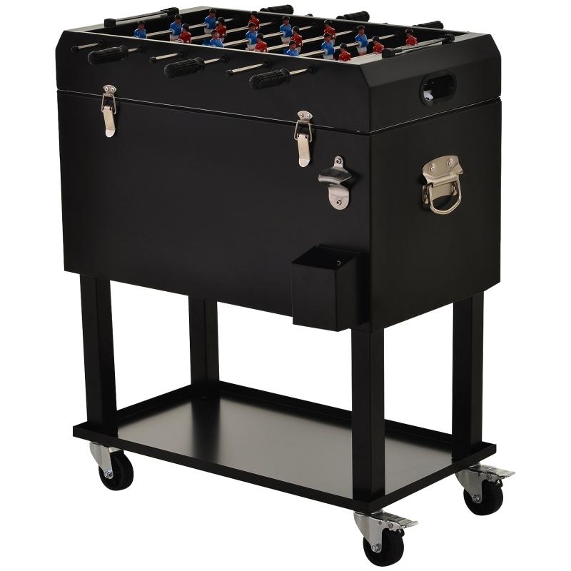 Koelbox met tafelvoetbal 2-in-1 65 l wijnkoeler tafelvoetbal koelwagen met wielen