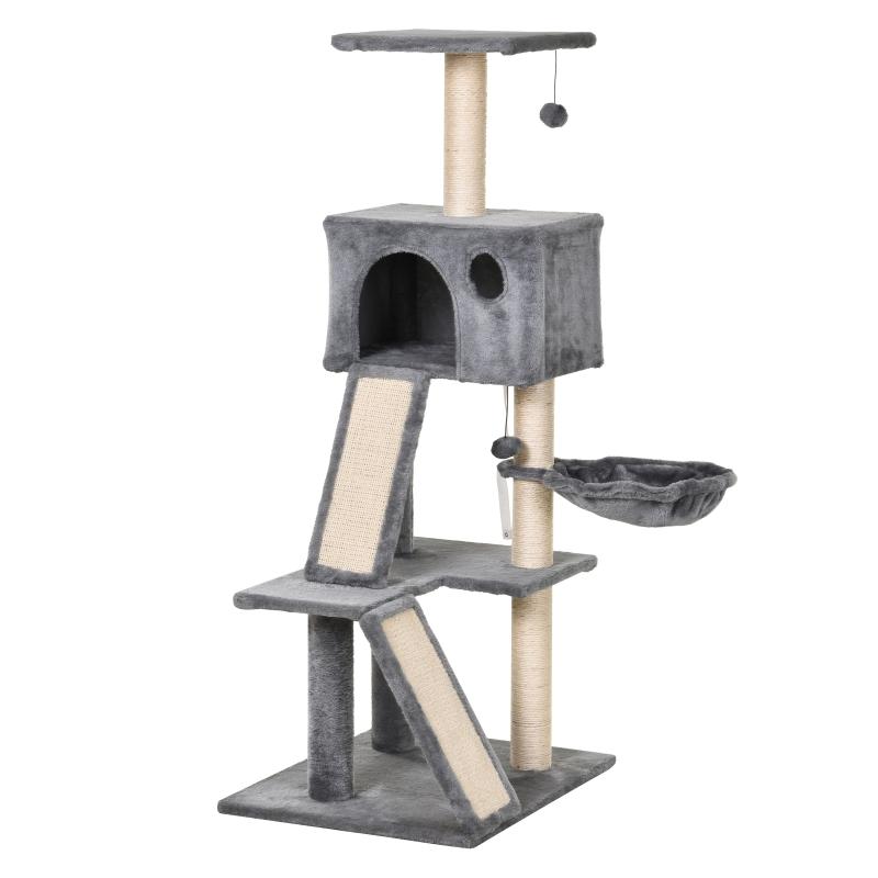 kattenkrabpaal met sisalpaal klimboom voor katten grijs