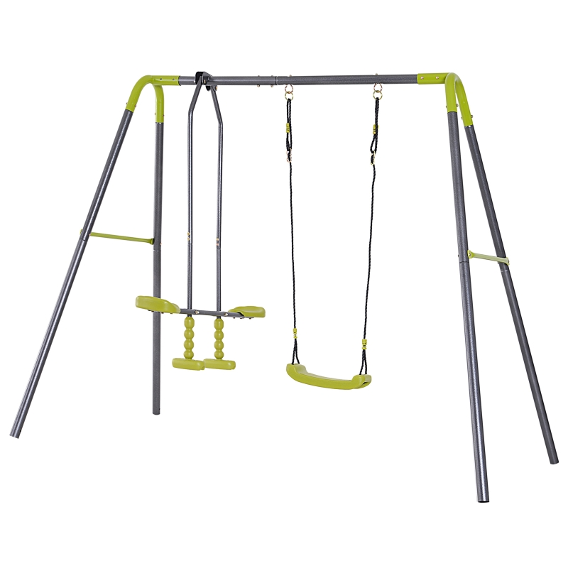 Kinderschommel dubbele schommel tuinschommel schommelset met metalen frame wip