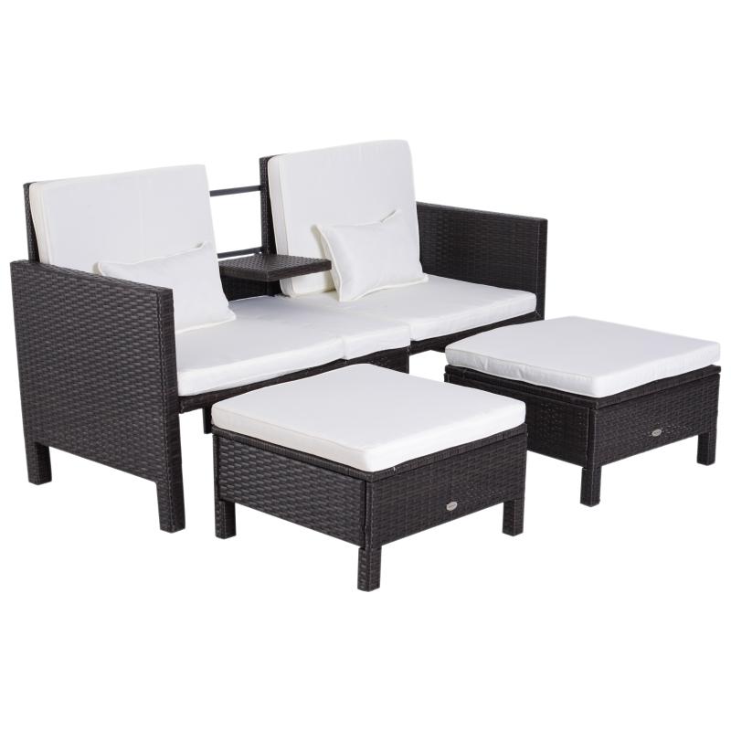 Tuinbankset lounge 3-delig Tuinset tuinmeubelen met sofa krukje kussens