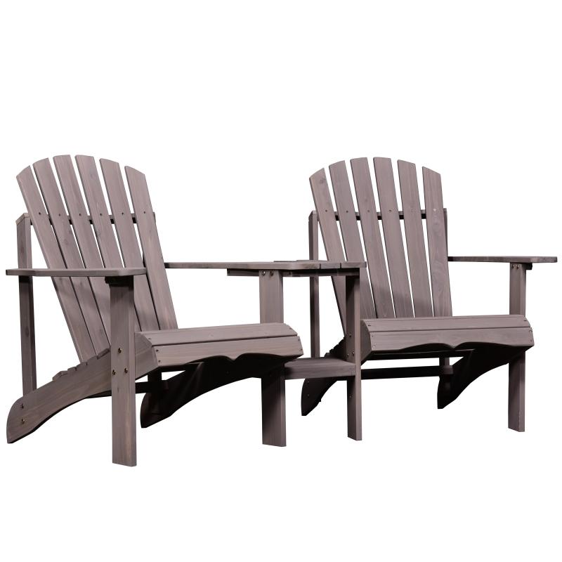 Outsunny tuinbank met tafel en zonneschermhouder, tuinmeubilair, massief hout, koffie
