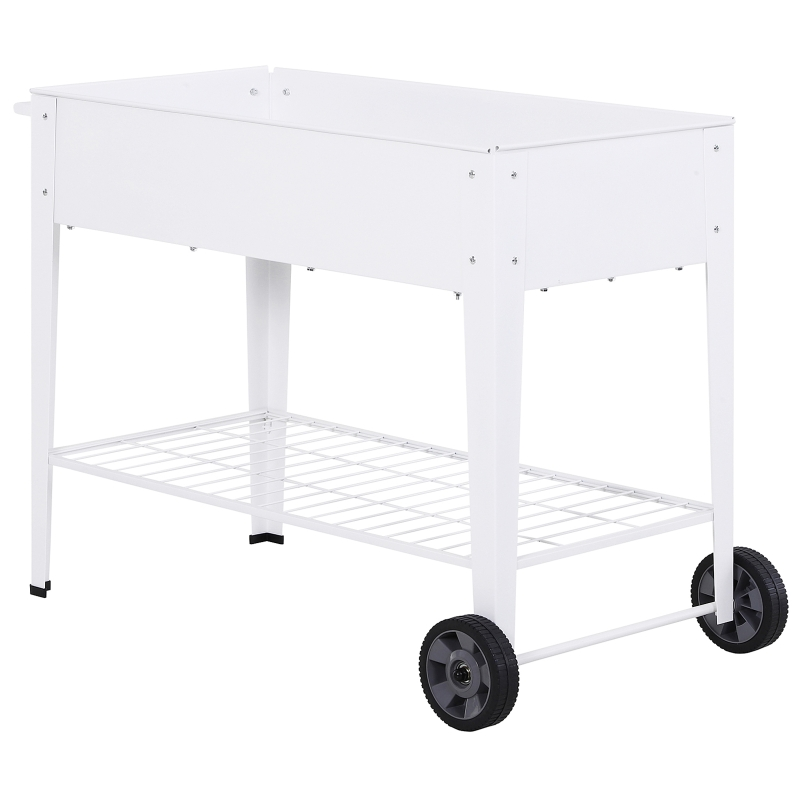 verhoogd bed mobiele plantenwagen met opbergruimte plantenbed 2 wielen metaal wit