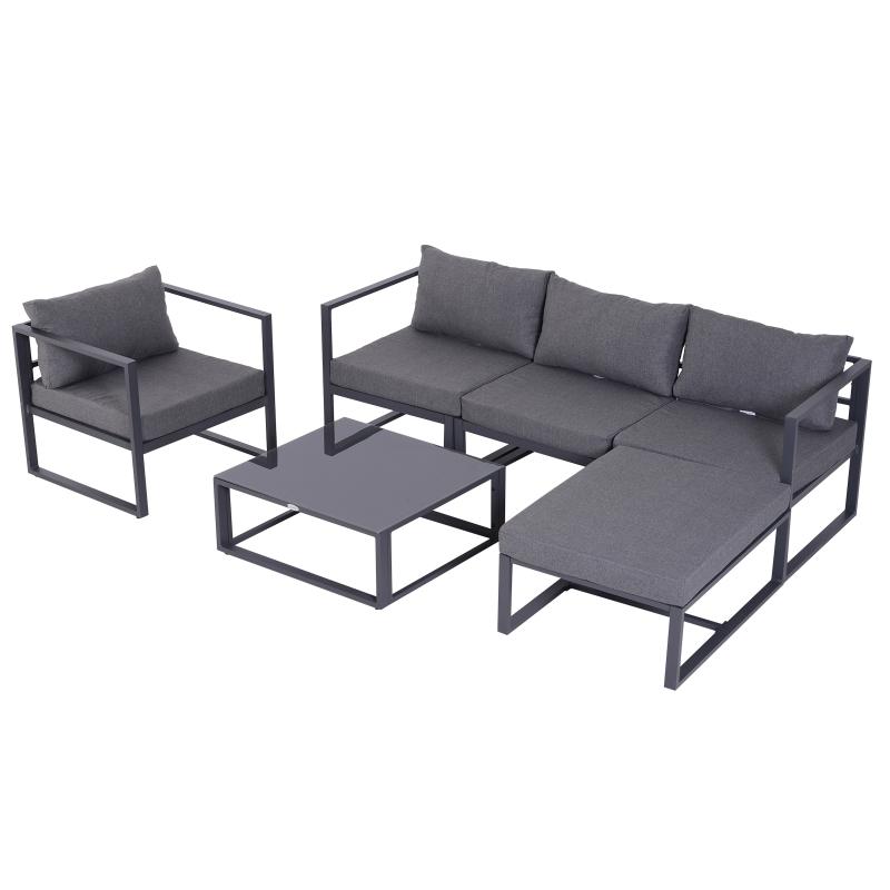 6-delig Tuinset tuinset tuinmeubelen lounge kussens hoekbank voor 4–5 personen