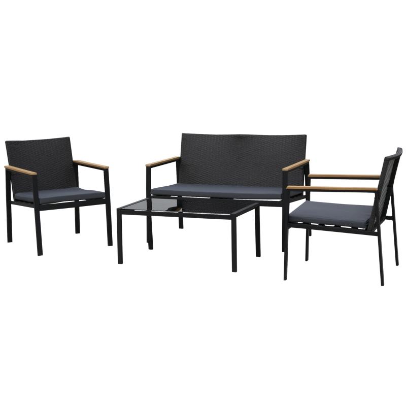 Tuinmeubelset 4-delige zitgroep 3 banken salontafel PP rotan