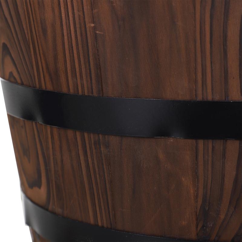 Houten vatfontein met waterpomp cascadefontein binnenfontein vintage stijl