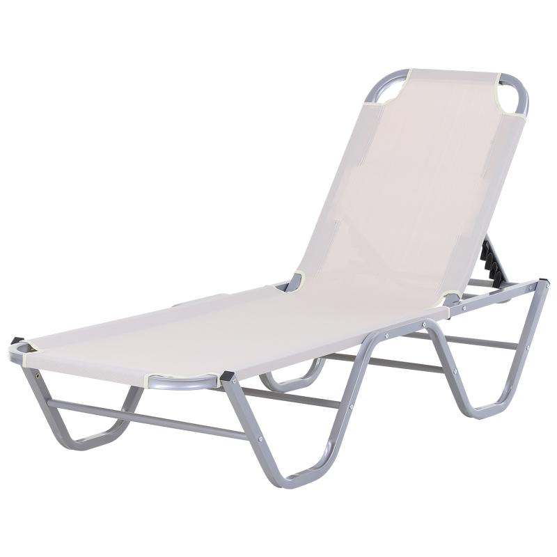 Ligstoel, strandstoel, ligbank voor buiten met 5 niveaus, relaxstoel, aluminium, Oxford-stof, crème