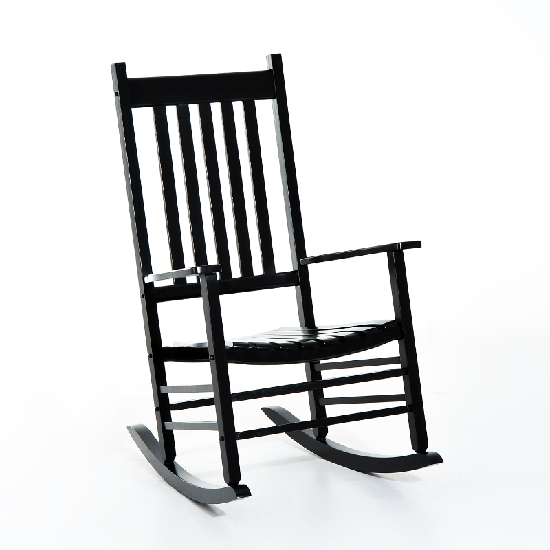 Schommelstoel schommelzitje relaxstoel tuinstoel armsteun populierenhout zwart