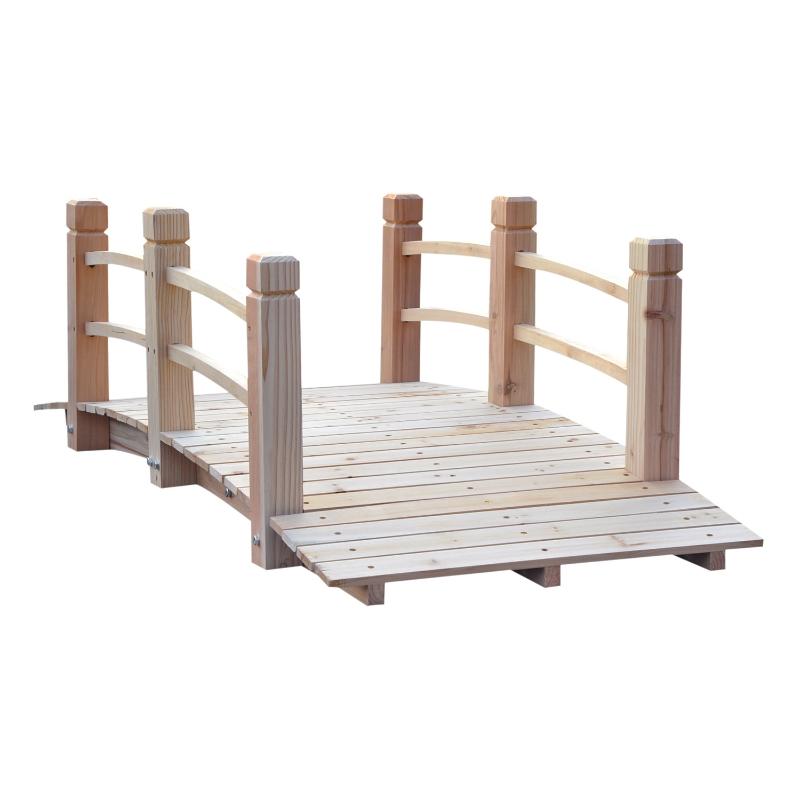 tuinbrug houten brug houten voetbrug vijverbrug sierbrug met leuning tot 180 kg