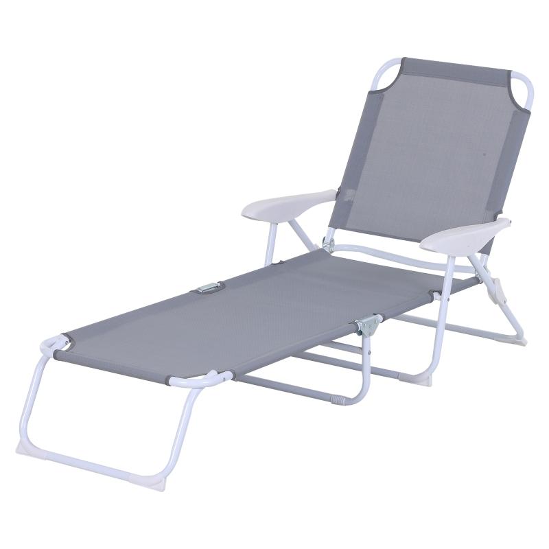Ligstoel opvouwbare strandstoel 4-laags tuinstoel textiel grijs