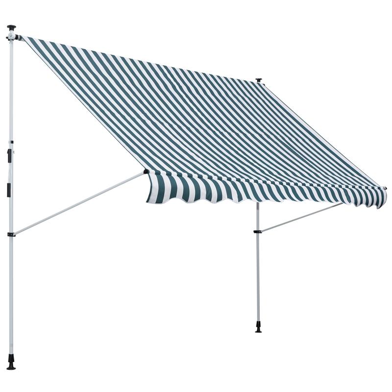 luifel knikarm klemluifel zonwering zwengel balkon aluminium 3 x 1,5 m groen