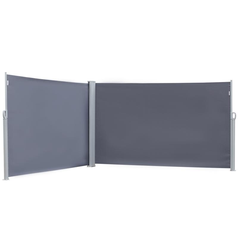 Outsunny dubbel zijscherm, zicht- en zonwering, polyester, grijs