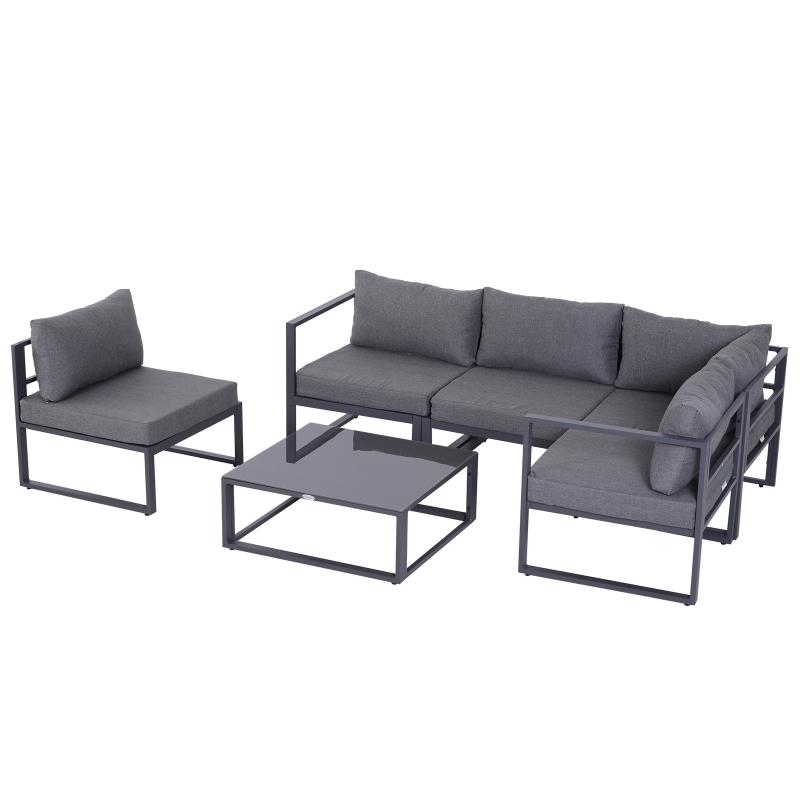 6-delig Tuinset tuinmeubelen tuinset lounge kussens hoekbank voor 4–5 personen