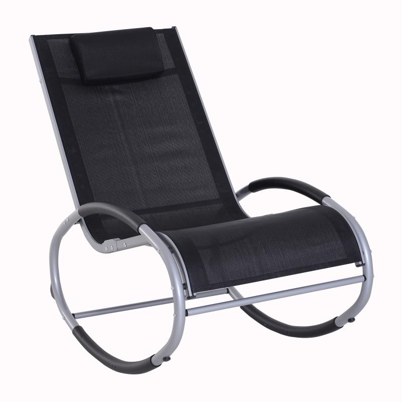 Schommelstoel schommelbank lounger schommelstoel met hoofdkussen aluminium tot 120 kg