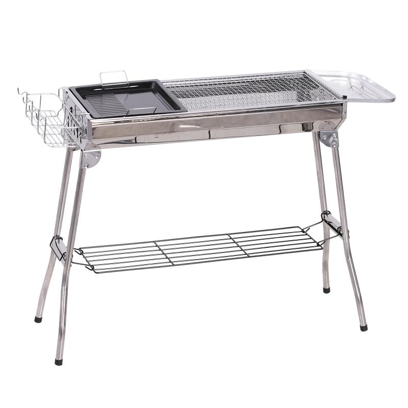 houtskoolgrill picknickgrill vrijstaande grill grillstation inklapbaar rvs zilver