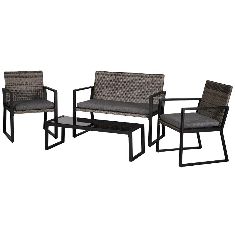 Vierdelige tuinset, bank, zitkussen, salontafel, staal grijs