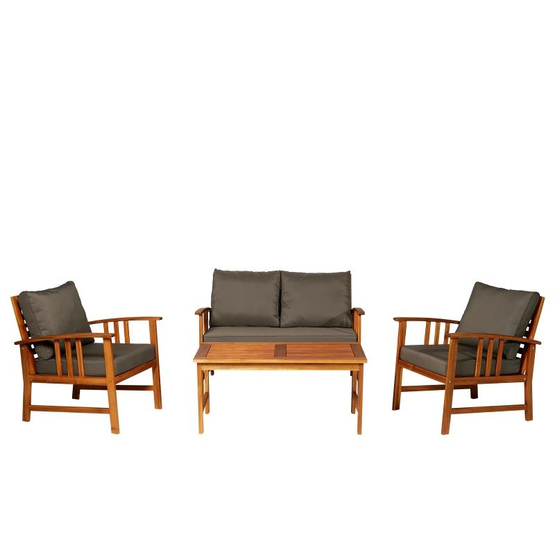 Set van 4 tuinmeubelen hout zitgroep lounge met kussens tafel stoelen