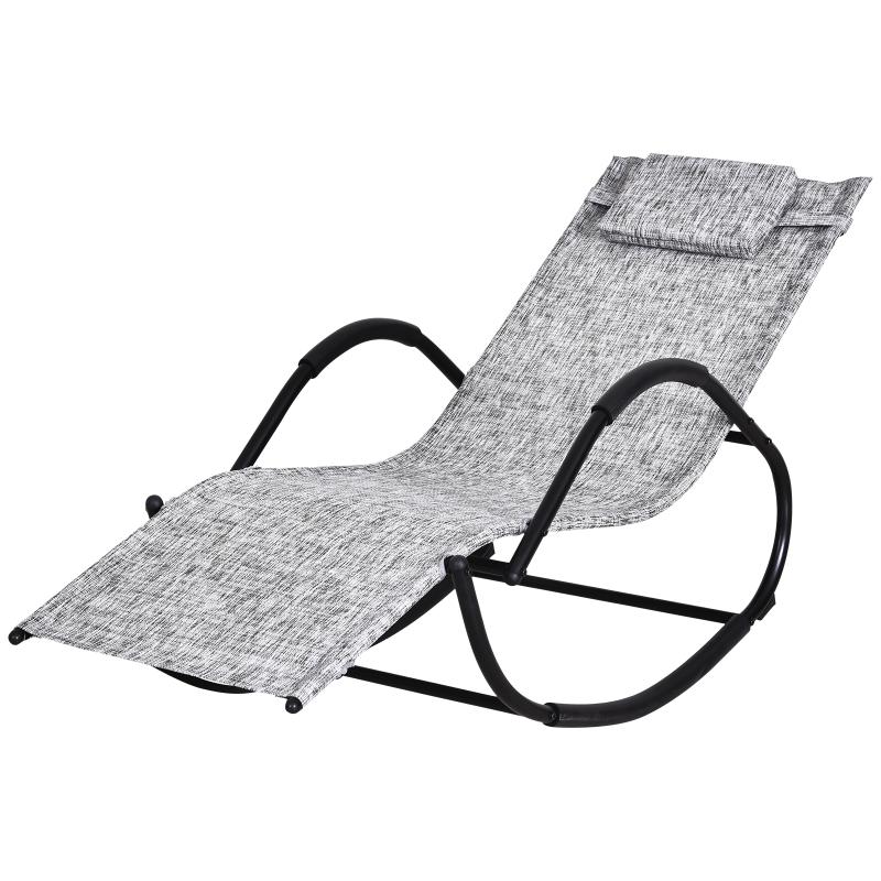 Schommelstoel schommelligbed schommelbank ligbank voor buiten hoofdkussen textilene grijs