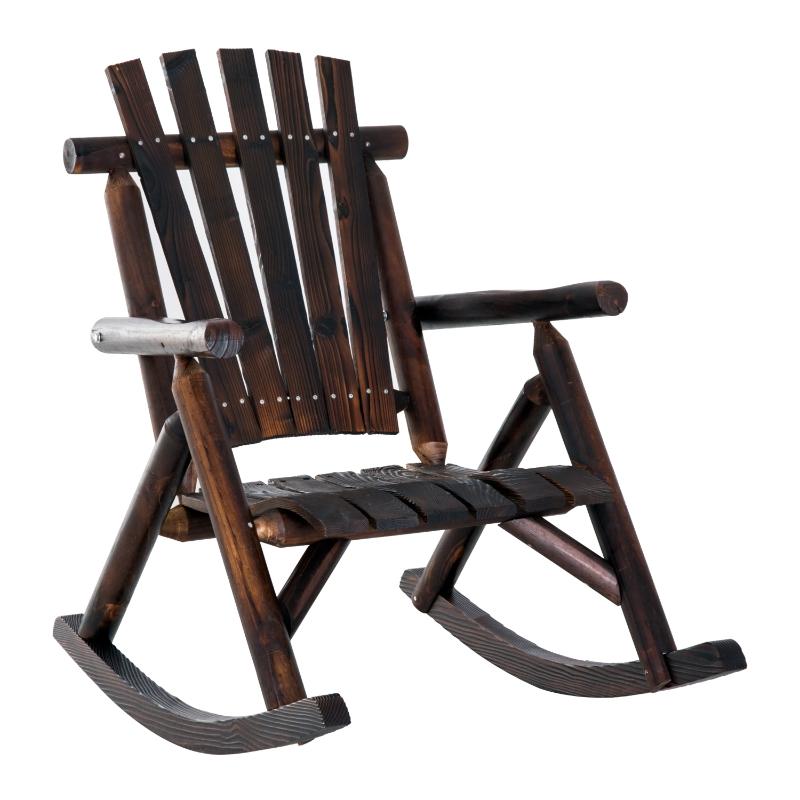 Outsunny schommelstoel met armleuningen, weerbestendig, massief hout donkerbruin
