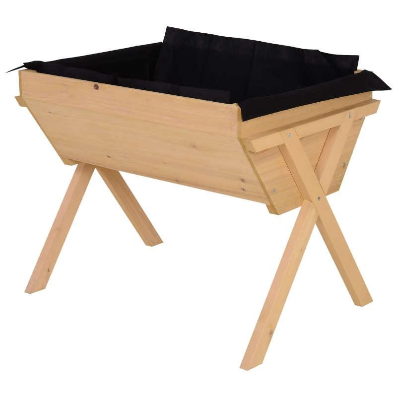Verhoogd bed plantenbak bloembak bloempot afwatering non-woven doek massief hout