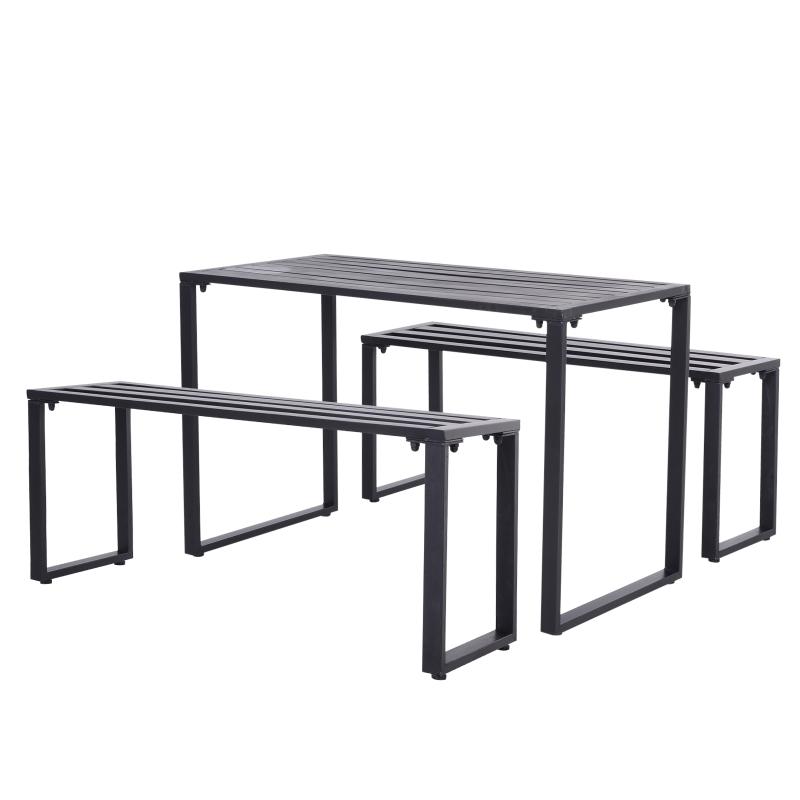 Outdoor meubelset tafel + banken 4-de tuinzitgroep tafel zitbank metaal