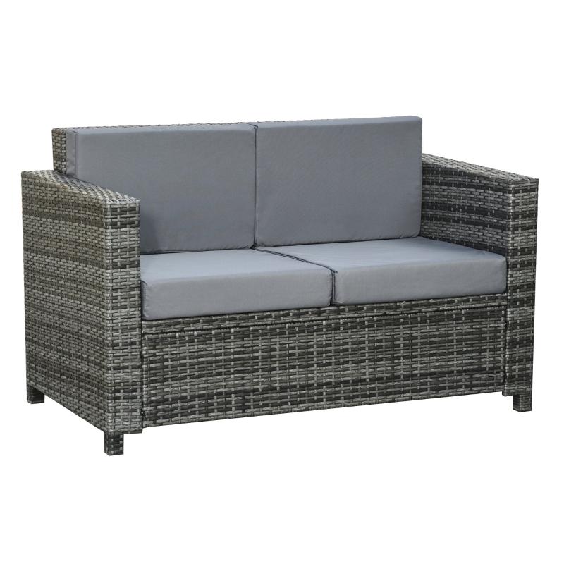 Poly-rotan bank met kussens 2-zits loungebank tuin metaal polyester grijs