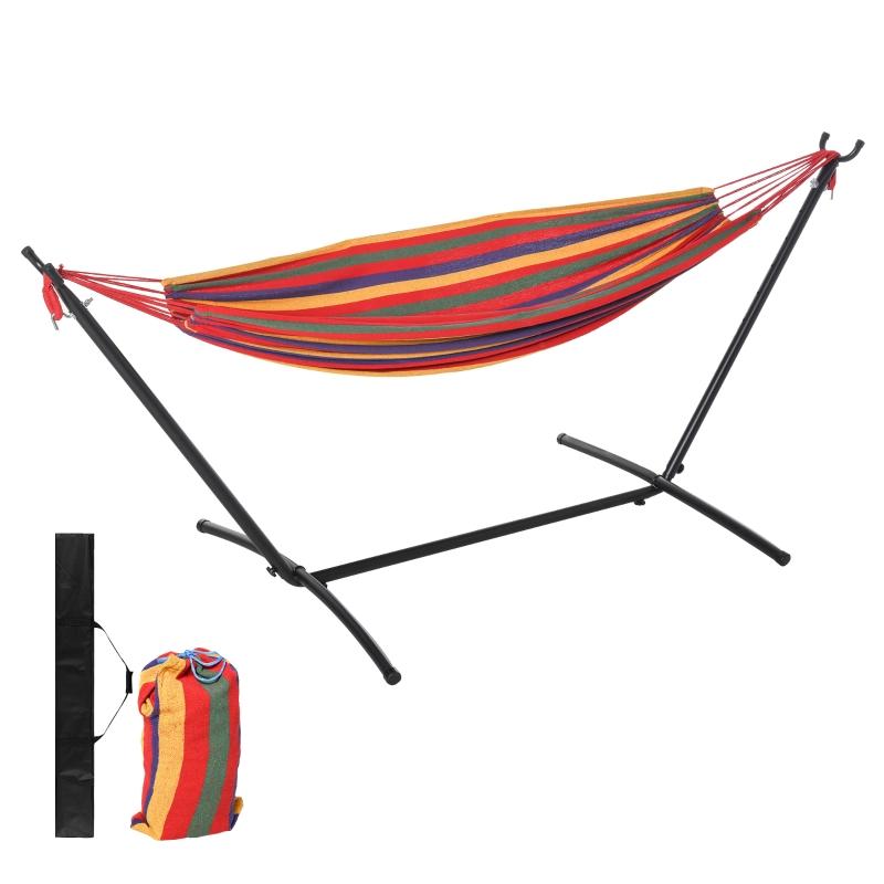 Hangmat met frame 200 x 150 cm in hoogte verstelbaar draagtas katoen buiten