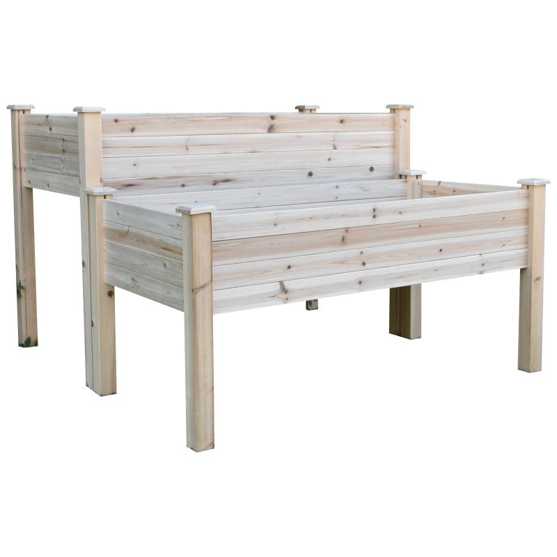 Verhoogd bed 2 niveaus koude kas kruidenbed plantenbak met afvoergaten van massief hout