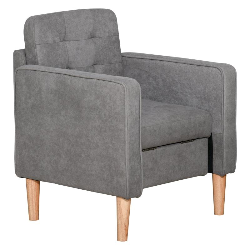 Eenpersoonsstoel relaxstoel met opbergruimte gestoffeerde stoel bank houten poten polyester