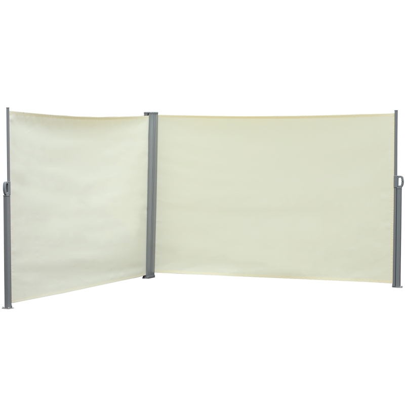 Outsunny dubbelzijdige zijluifel, privacy- en zonwering, polyester, crème