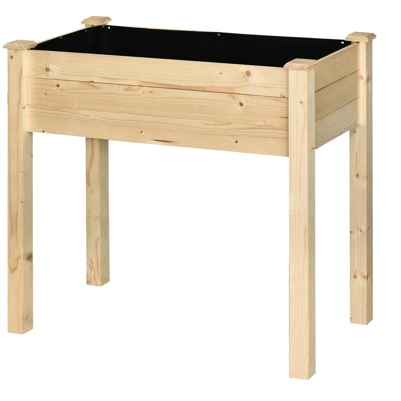 Verhoogd bed plantenbak kruidenbed met afvoergaten non-woven massief hout naturel