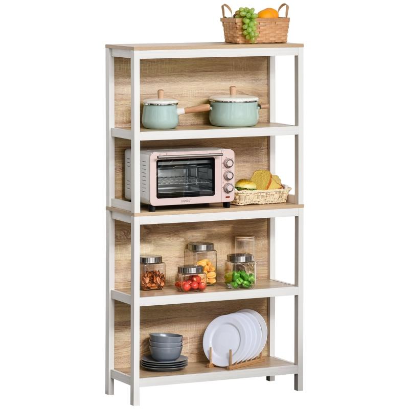 Staande plank boekenkast 4-laags kantoorplank keukenplank spaanplaat eik + wit
